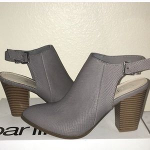 New gray ankle booties with strap